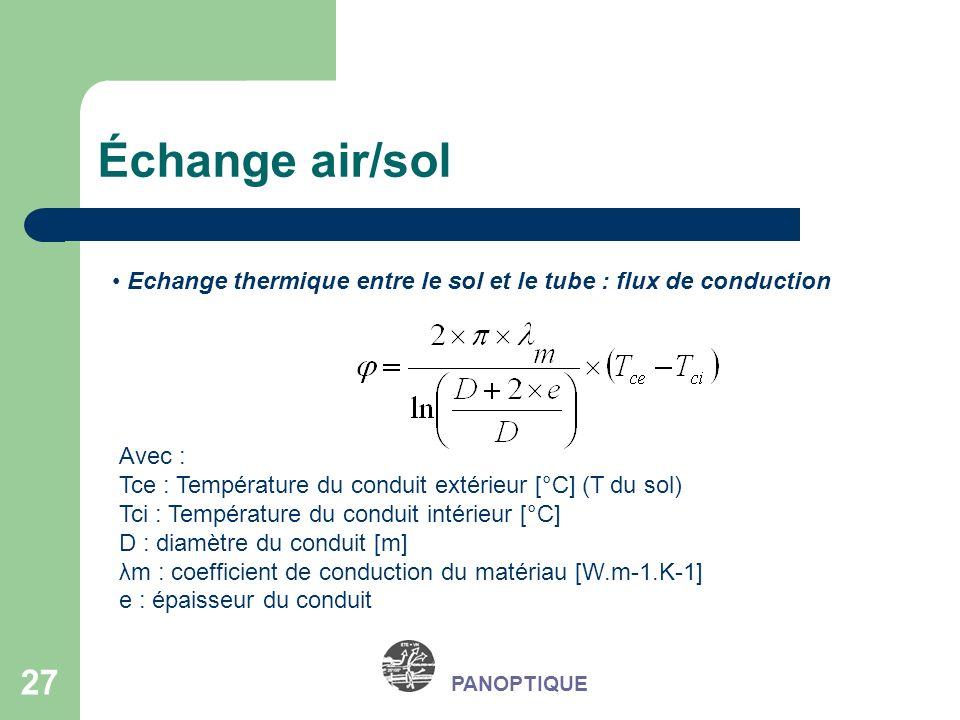 Échange air/sol Echange thermique entre le sol et le tube : flux de conduction. Avec : Tce : Température du conduit extérieur [°C] (T du sol)